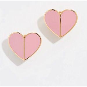 KS GOLD PINK HERITAGE HEART DESIGNER LOGO STUDS